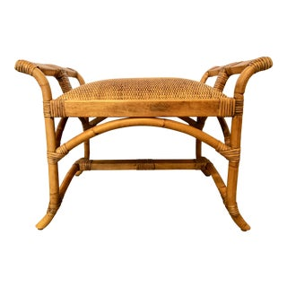 Bamboo, Rattan & Wood Bench For Sale