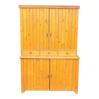 Antique Pine 2 Part Country Primitive Rustic Shop Cabinet C1900s For Sale