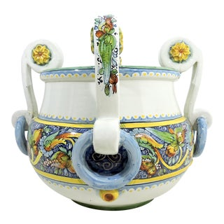 Large Multi Coloured Italian Caltagirone Ceramic Jardiniere or Planter With Blue Handles For Sale