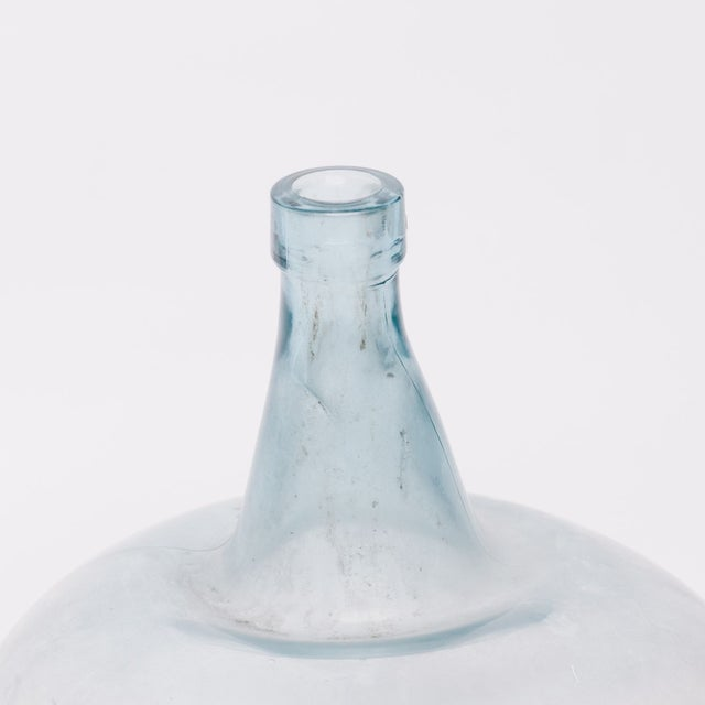 Contemporary Glass Demijohn Bottle in Blue For Sale - Image 3 of 3