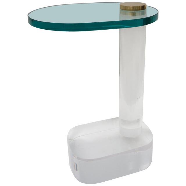 Side Table in Lucite, Brass and Glass by Pace Furniture For Sale