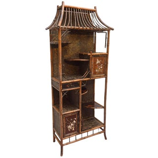 19th Century Chinoiserie Pagoda Form Bamboo Display Cabinet For Sale