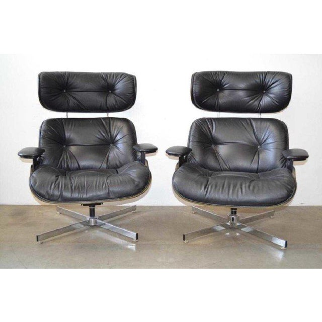 Eames Style Mid Century Modern Lounge Chairs Ottomans 4 Pieces