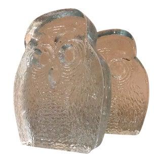 1960s Blenko Glass Owl Bookends Midcentury Modern Joel Myers Usa For Sale