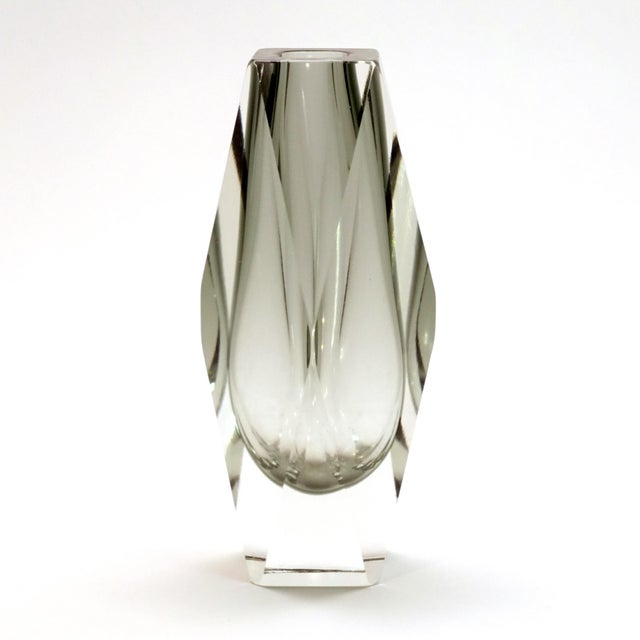 Transparent Murano Gray Faceted Cased Glass Block Vase Sculpture For Sale - Image 8 of 8