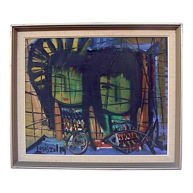 Loius Zelig Mid-Century Modern Painting For Sale