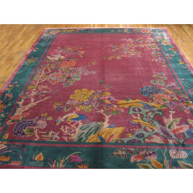 """Art Deco Antique Chinese Art Deco Rug 9'0"""" X 11'8"""" For Sale - Image 3 of 7"""