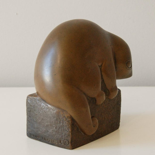 1940s Circa 1940 Marian Weisberg Copper Stylized Lemur Sculpture For Sale - Image 5 of 8