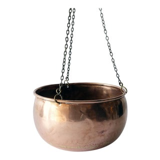 19th Century Copper Hanging Planter With Round Bottom For Sale