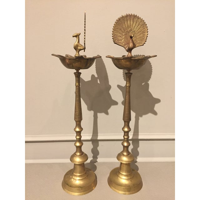 Late 20th Century 1970s India Brass Flamingo Pillar For Sale - Image 5 of 11