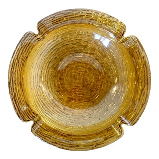 """Large 9"""" Mid-Century Modern Amber Textured Ashtray For Sale"""