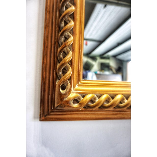 Vintage Mid-Century English Carved Walnut Barley Twist Mirror For Sale In West Palm - Image 6 of 13