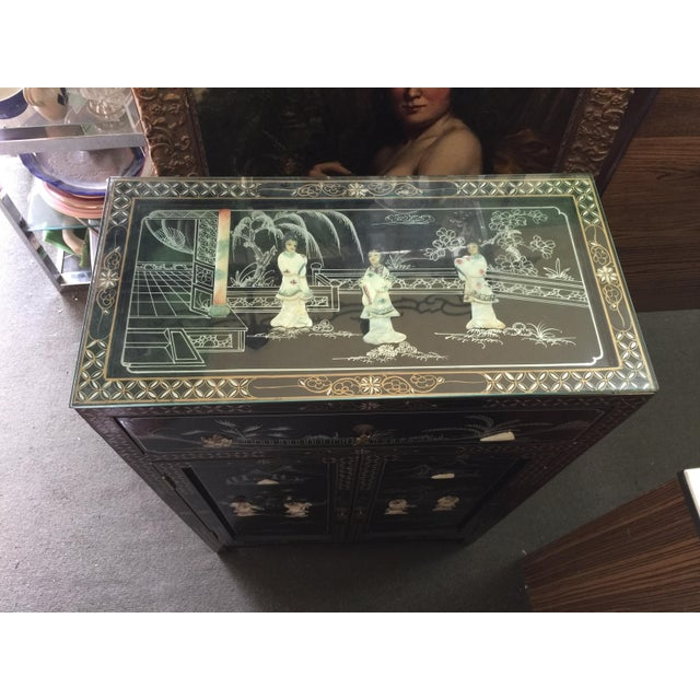 White Vintage Asian Black Lacquer Cabinet With Mother Of Pearl For Sale - Image 8 of 10