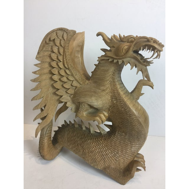 Rare Magnificent Vintage-Carved Wooden Dragon Figurine For Sale - Image 10 of 13