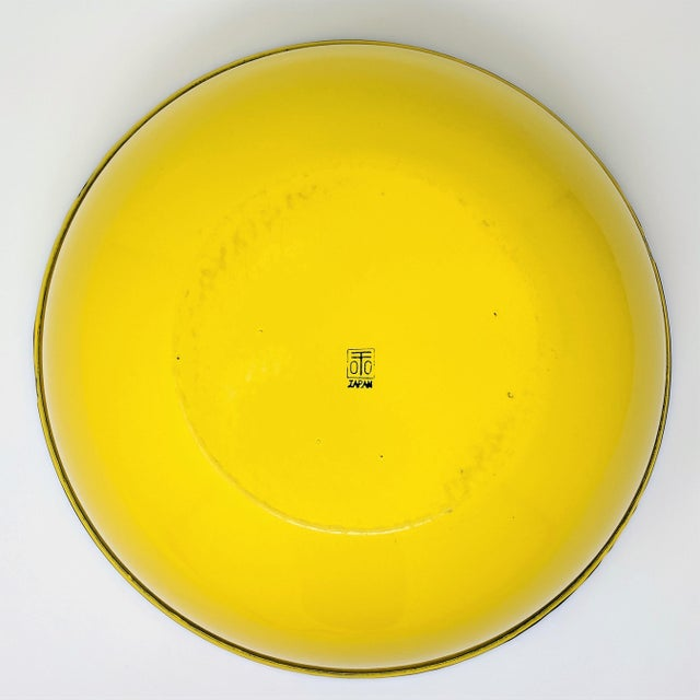 Mid 20th Century Vintage Otto Japanese Yellow Enameled Metal Bowl For Sale - Image 5 of 8