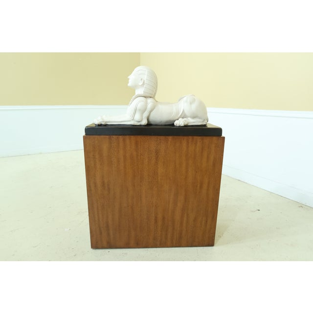 Theodore Alexander Theodore Alexander Sphinx Statue on Wood Base & Pedestal For Sale - Image 4 of 11