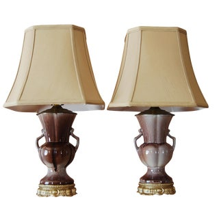 Vintage used purple table lamps chairish aubergine gonder drip glaze urn lamps w new shades pair mozeypictures