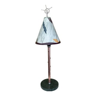 1990s Handmade Ceramic Shaded Copper Accent Lamp by Janna Ugone For Sale
