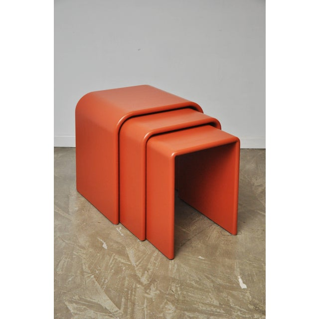 Red Eel Skin Nesting Tables For Sale - Image 8 of 13