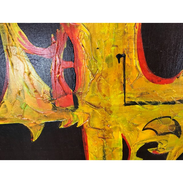 Large modern abstract oil on canvas 'Sound Wave' by Carlo of Hollywood.