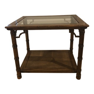 1960s Mid Century Faux Bamboo Glass Top Side Table For Sale