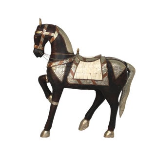 Vintage Mid-Century Tang Style Wood and Metal Horse Sculpture For Sale