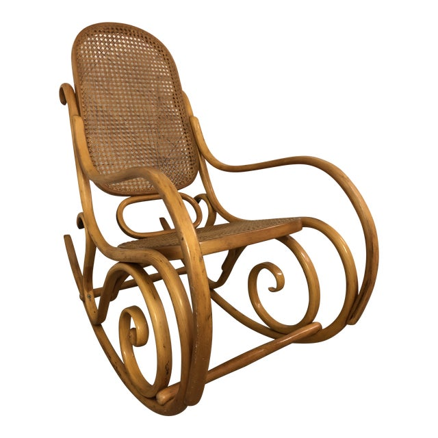 19th Century Thonet Bentwood & Cane Wood Rocker Rocking Chair For Sale