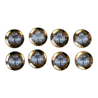 1960's Vintage Gold Roman Chariot Fornasetti Porcelain Coasters Plates for Saks 5th Avenue - Set of 8 For Sale