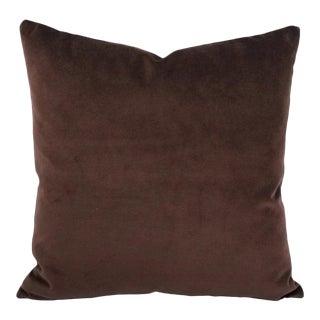 "Solid Dark Brown Velvet Pillow Cover - 20"" X 20"" For Sale"