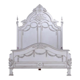 Bed Victorian Queen Old Lace White Solid Wood For Sale