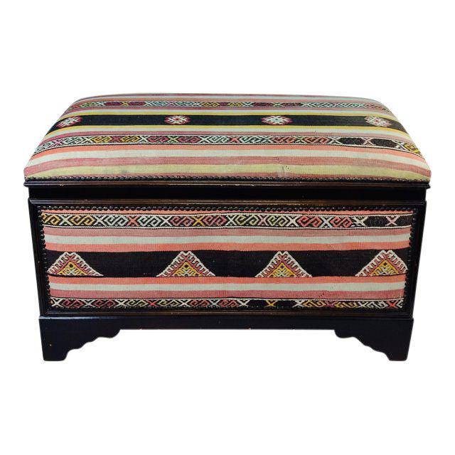Antique Turkish Kilim Cedar Storage Trunk Bench For Sale