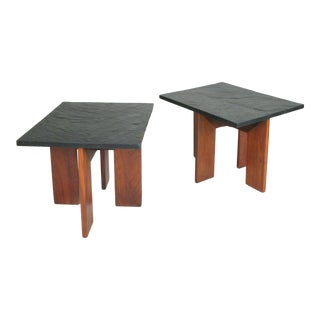 1950s Modern Walnut & Slate Tables by Adrian Pearsall for Craft Associates - a Pair For Sale