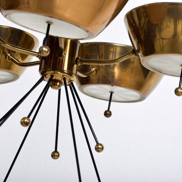 Mid Century Modern Sputnik Italian Chandelier in Brass Paavo Tynell Attr For Sale In San Diego - Image 6 of 7