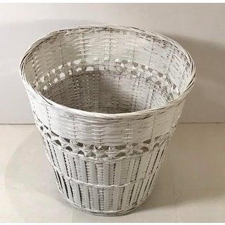 Vintage White Wicker Waste Basket Preview