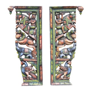 Tribal Indian Carved Corbels - A Pair
