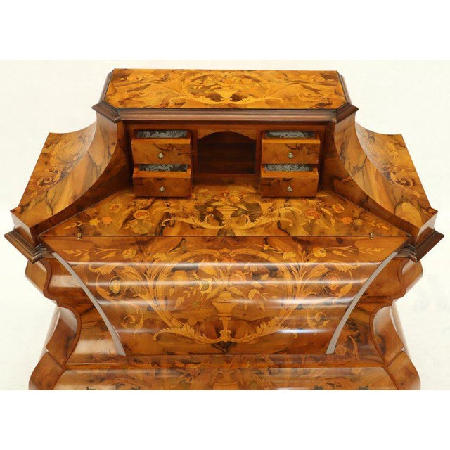 Italian Bombe Inlay Olive Wood Dresser Drop Front Jewerly Compartment Secretary For Sale - Image 6 of 13