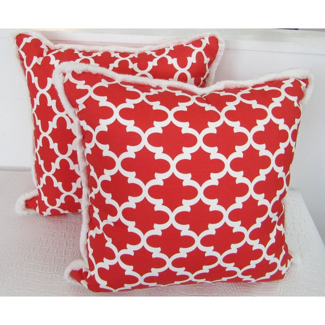 Traditional Red & White Moroccan Print Pillows With Fringe , a Pair For Sale - Image 3 of 4