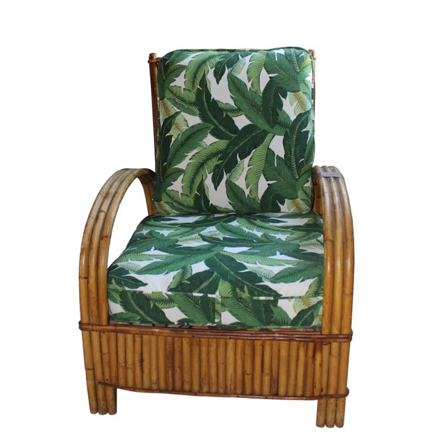 Wood Hollywood Regency Rattan Lounge Chair For Sale - Image 7 of 7