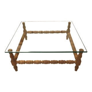 French Country Style Carved Wood and Glass Top Coffee Table
