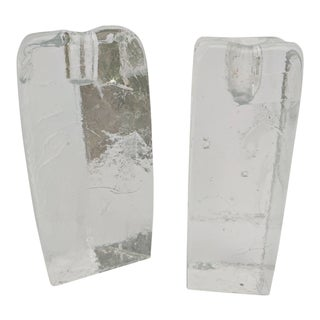 A Pair- Mid Century Modern Kalmar Glass Sculptural Candle Holders For Sale