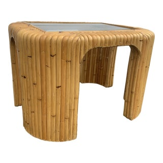 Boho Chic Bamboo Split Reed Coffee Table For Sale