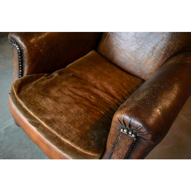 1930s French Leather and Cloth Seat Club Chair For Sale - Image 4 of 8