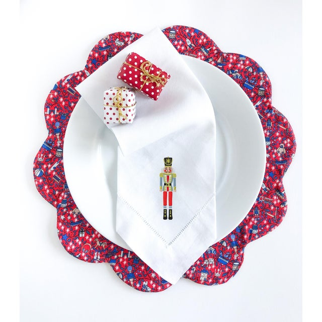 Traditional Liberty of London Scalloped Placemat Red Magical Forest - Set of 4 For Sale - Image 3 of 4
