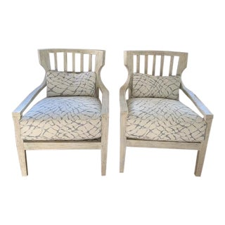 Modern Contemporary Wood Framed Accent Chairs - A Pair For Sale