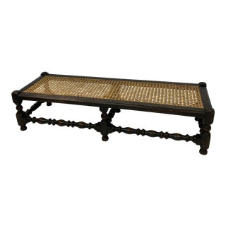 English Oak Spool-Turned Cane Bench For Sale