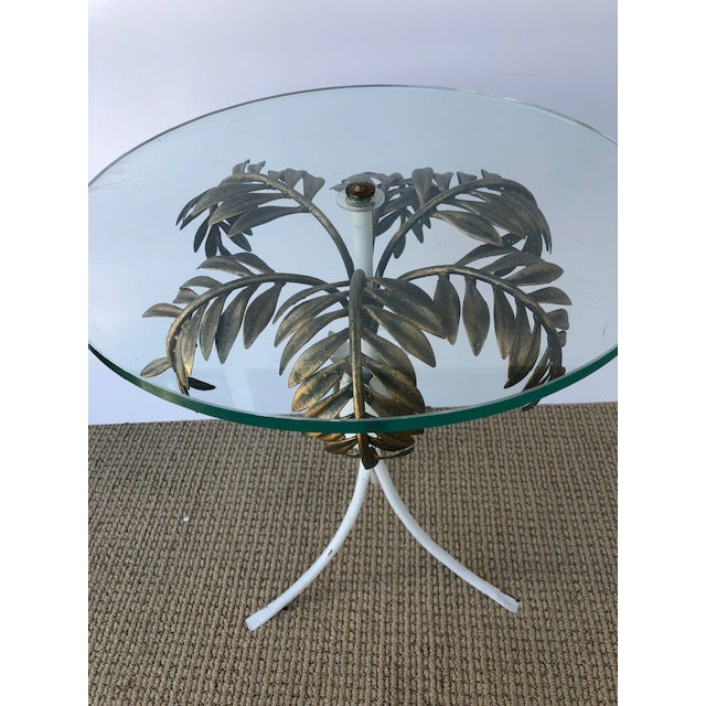 Glass 1960s Hollywood Regency Palm Tree Side Table For Sale - Image 7 of 8