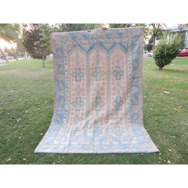 Distressed Vintage Turkish Rug 75.1'' X 104.3'' / 191x265cm Hand woven with high quality pure wool Excellent condition...
