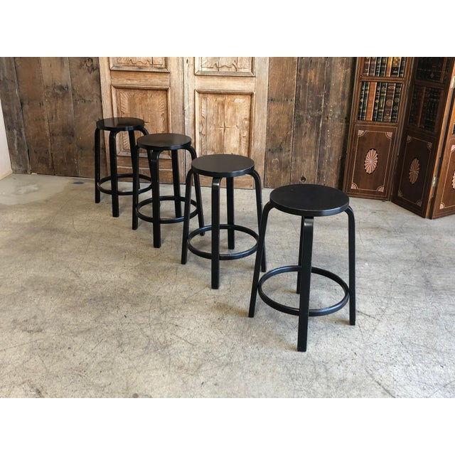 Mid-Century Modern Aalto Manufactured for Artek Wooden Bar Stool For Sale In Los Angeles - Image 6 of 12