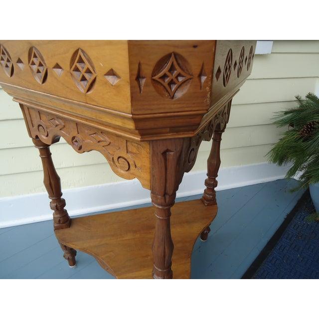 Gothic Style Oak Triangular Planter - Image 3 of 7
