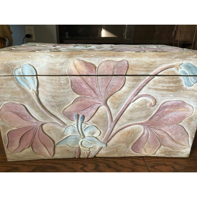 Vintage Hand Carved Mahogany Chest For Sale - Image 4 of 7